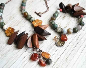 FANCY JASPER and WOOD Rustic Necklace Bracelet Set Carnelian Charms