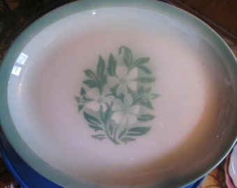 Syracuse china, airbrushed large platter, green and white mint