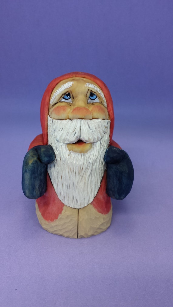Collectible santa claus wood carving hand carved christmas
