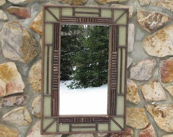 Adirondack Twig Mirror with Sage Crackle Finish