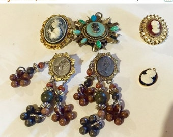 MOVING SALE Half Off Lot of  Salvaged Vintage Assorted Cameo Jewelry  Parts and Pieces
