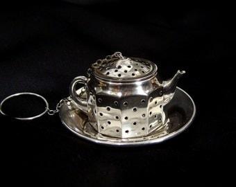 Antique Tea Ball. 1920s Sterling Silver Amcraft MINIATURE Teapot Tea Infuser. Tea Kettle and Saucer Attleboro Mass in original box