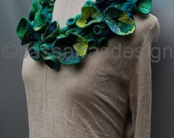 Hand felted silk shibori collar, neckpiece, OOAK wearable fiber art accessory, handmade women's statement fashion