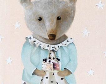 Teddy Bear Oil painting, Teddy Bear wall art decor, Teddy Bear illustration, Bear picture, gift for animal lover girl room wall art decor