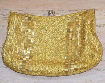 Purse Gold Beads Vintage Walborg Wedding Bridal Party Opera Mid Century Gift for Her Birthday Christmas