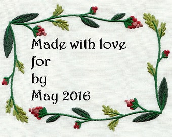 Embroidered Quilt Label Berries and Vines 2