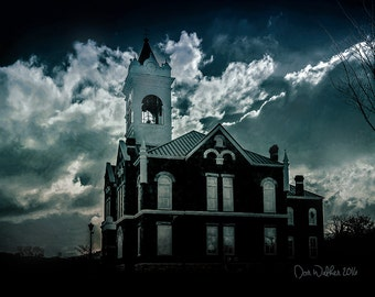 Court house photo,  blue photo, dramatic clouds, night art print, modern rustic wall decor