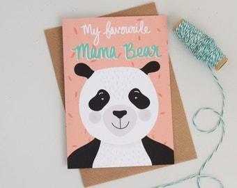 Mama Bear Card, Panda Bear Mothers Day Card, Cards for Mums, Bear Illustration, Panda Card, Mothers Day Greetings Card
