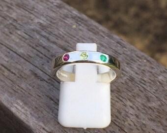 Birthstone ring, handmade, sterling silver, Mother's Day, birthday, anniversary, gemstones