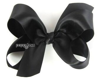 Satin Hair Bow - black hair bow - large hair bow - 4 inch hair bow - big hair bow - girls hair bow - toddler hair bow - black satin barrette