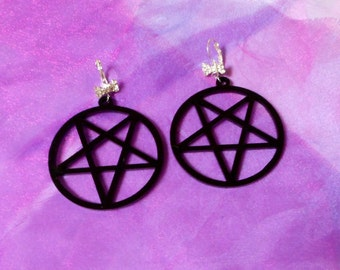 Big Black Acrylic PENTAGRAM Earrings with Silver Wrap Around Hooks and Rhinestone Bow