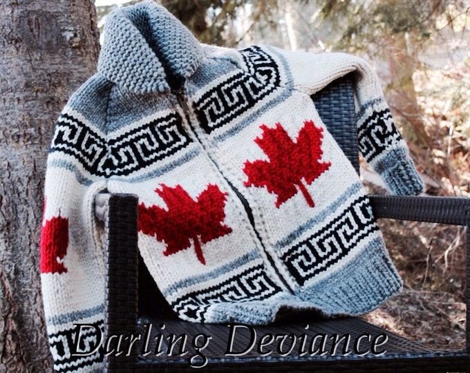 Featured listing image: Made to Order Cowichan Style Wool Sweater - Oh Canada! Maple Leaf pattern. Celebrate Canada's 150th!