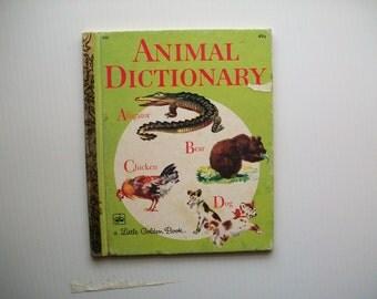 vintage Little Golden Book Animal Dictionary . vintage Fedor Rojankovsky illustrations . vintage children's book . vintage children's art