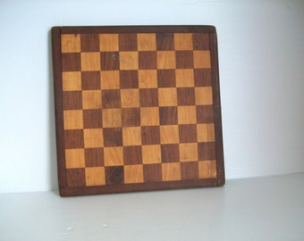 single vintage game board   1970s rustic chess board   retro decor   rustic game decor   vintage chess board wood chess board   rustic wood