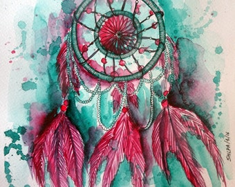 Dream Catcher watercolor painting ORIGINAL ART