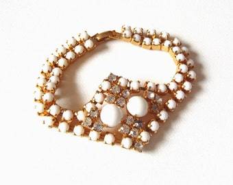 Vintage White Glass and Rhinestone Bracelet Glamorous Evening Wear Double Strand Prong Set Cabochons with Faceted Clear Stones in Center