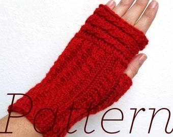 Knit Fingerless Gloves Pattern // Up & Over Mitts – Pattern Only – PDF Download