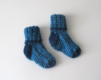 Hand Knit Baby Socks (3-6 months) – Sparkly Light & Dark Blue striped – hand dyed pinks