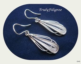Handmade Sterling Silver Filigree Drop Earrings
