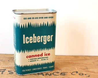 Vintage 1960s Iceberger canned ice - Guard All Chemical Co, Inc. freeze and refreeze metal can for coolers - vintage camping and picnicking