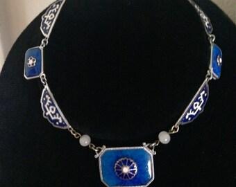 Vintage 1920s Art Deco Czech Enamel Lapis Glass Necklace Max Neiger Rhodium Plated