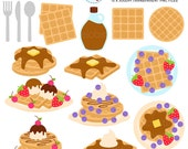 Waffles Clipart Set - breakfast, food, waffle clip art, syrup, strawberries, dessert - personal use, small commercial use, instant download