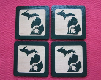 MSU Coasters - Spartan Helmet with State of Michigan - Set of 4