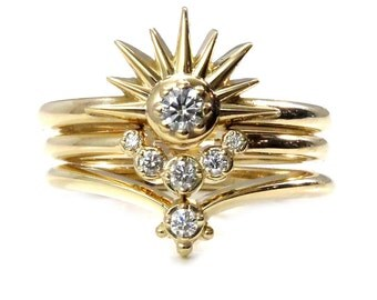 Sun Moon and Stars Stacking Ring Set - Sunburst with Diamond and Crescent Moon Engagement Rings