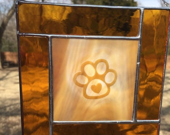 Stained Glass Panel - Sandblasted Paw Heart - Contemporary (PLG014)