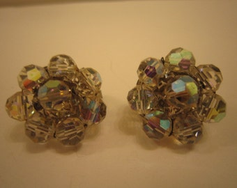 Vintage HOBE AB Glass Cluster Earrings Clip on Style