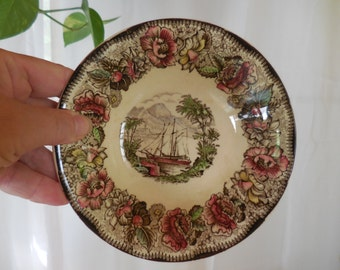 Vintage 1930s to 1950s Small Bowl Safe Harbour Staffordshire Ceramics England Colorful Boat Scene Pink/Green/Brown