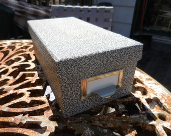 Vintage 1950s to 1960s Cardboard Black and White Speckled File Card Box by Globe-Weis 93BLA