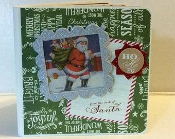Christmas scrapbook premade pages chipboard book- 5 x 5 scrapbook album