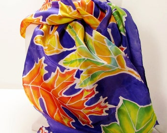 Bold Leaves: Violet Purple Hand-Rolled Silk Scarf with Bold, Vivid Leaves - Artist Initials SP 93