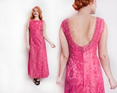 Vintage 1960s Dress - Pink Silk Brocade Full Length Beaded Gown 60s - Small