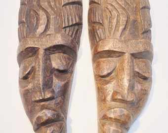 Vintage Mid Century Hand Carved Wood Lot / Set of 2 African Made in HAITI Hand Carved Wooden Sculpture MASK Wood Primitive Home Decor Rustic