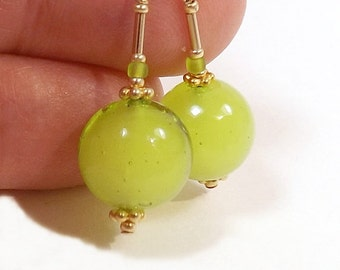 Chartreuse Murano Glass Bead Earrings, 1 1/8 inch (2.8cm) Drops, Italian Transparent Glass Around a White Core, Yellow Green Glass Dangles