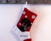 Black Dachshund Dog Personalized Christmas Stocking by Allenbrite Studio