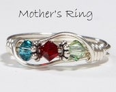 3 stone Mother's Birthstone Ring: Personalized Sterling Silver Mom's Family Ring.Three Swarovski multistone Crystals. Mother's Day,Christmas