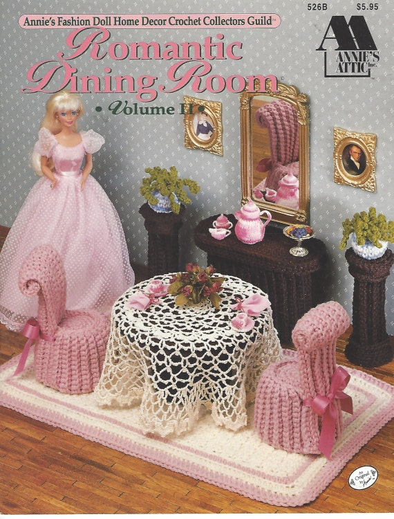 Romantic Dining Room: 90s Romantic Dining Room Crochet Doll Furniture For Barbie And