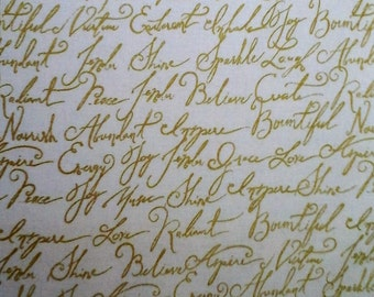 Adornit Gold Chatter Script Fabric