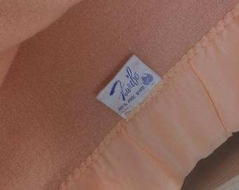 Vintage FARIBO Blanket Peach Washable Wool