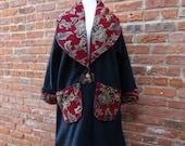 Women's Long Fleece Coat,Oversized Coat,Boho Coat,Cottage Chic Coat,Size S-L Coat,by Nine Muses Of Crete