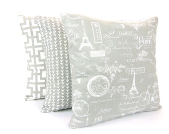 Gray Decorative Throw Pillow COVER Gray White Paris Vine Cushion Three of Couch Sofa Pillow Bedding Euro Sham Home Decor Accent Pillow Grey