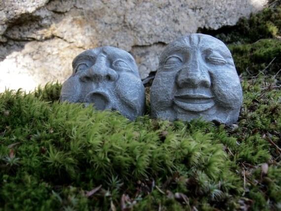 Rock Faces, Three Concrete Garden Rocks, Garden Decor, Pot Sitter, Flower  Pot Decor, Faces On Rocks, Concrete Face, Cement Face, Rock Statue