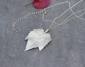 Fine Silver Leaf Necklace with Cubic Zirconia Botanical Maple Leaf Necklace
