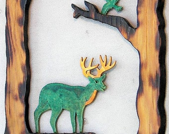 "Buck Deer and Eagle in Hollow Woodburned Pine 11.5"" x 7.5"" x .5"" Wall Hanging"