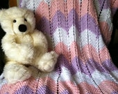 Pretty Pastel Colored Hand Knit Rippled Baby Blanket / Afghan