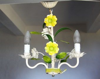 Vintage French Tole Chandelier,  Shabby Chic Ceiling Fitting,  Floral Toleware
