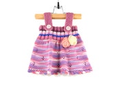 Knitted Baby Dress - Pink, Lilac, Blue, 6 - 9 months